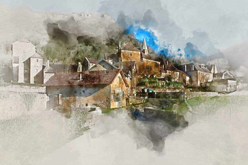 Digital watercolor painting of Baume-les-Messieurs village, classified as one of the most beautiful villages of France Altered Art ArtWork Baume-les-messieurs Bourgogne-Franche-Comte Computer Generated Digital Art Digital Illustration Digital Painting Digitally Generated Europe France Generated Graphic Illustration Landscape Nature Outdoors Rural Scene Scenery Town Travel Destinations Village Watercolor Watercolor Painting