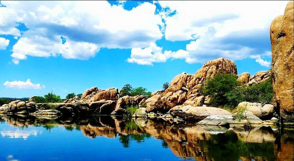 Watson Lake Reflection Water Cloud - Sky Rock - Object Tranquility Prescott, AZ