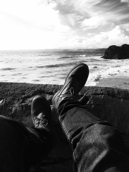 Messing About Human Leg Shoe Sea Horizon Over Water Relaxation Black & White View From... Sea And Sky Personal Perspective ..and breath...