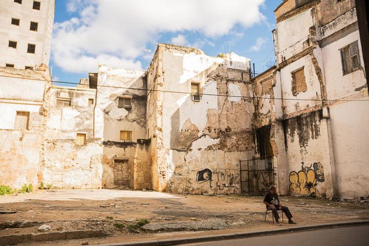 Havana, Cuba - December 3, 2017: Guarded parking between Havana's decadent palaces Cuba Decay Habana Havana Havana, Cuba Abandoned Cuban Cuban Life Guardian Parking Ruin Squalid Street Urban