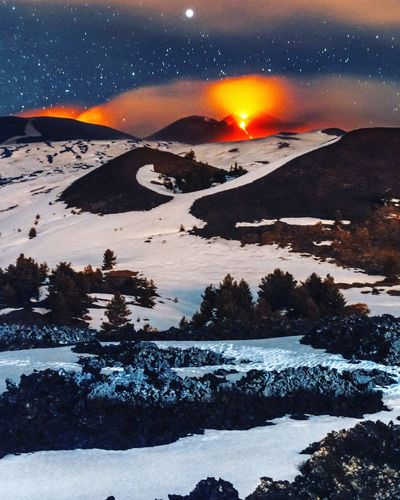 Mount Etna Landscape Night Snow Winter Mountain Tree Galaxy CloudsMacro Photography Nature Sky Eruption Etna Sicily Italy Stars Natural Phenomenon No People Photography