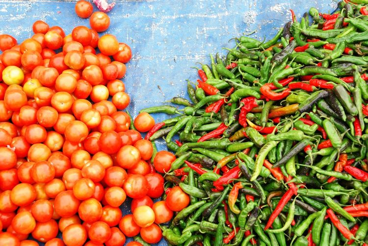 Tomatoes🍅🍅 Chillies Red Freshness Market Chillies Green Chili