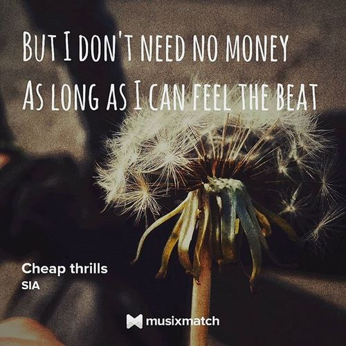 But i don't need no money As long as i keep dancing Sia -CHeap Thrills GetTheLyrics with MusiXmatch Sia Newsong Lyricscard Lyrics Cheapthrills Thisisacting