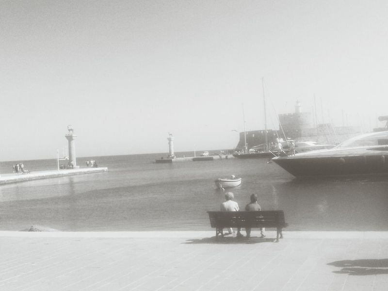 Rhodos Rhodes Harbour Boats Black And White Photography
