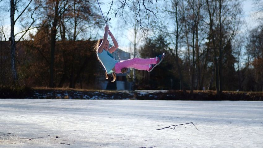 Bare Tree Cold Temperature Day Girl Girl On A Swing. Child. Girl Swinging Nature Outdoors Snow Swing Swinging Tree Winter Winter Sport