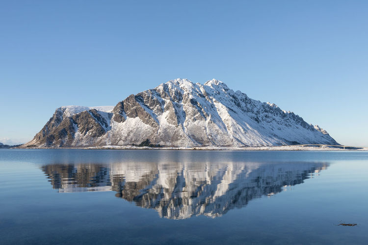 Reflection of a mountain on Lofoten islands on a sunny winter day Cold Temperature Winter Arctic Sunny Island Bay Of Water Symmetry Snow Water Sky Reflection Beauty In Nature Mountain Scenics - Nature Tranquil Scene Tranquility Clear Sky Nature Waterfront Blue Lake Day Copy Space Snowcapped Mountain Ice No People Outdoors Iceberg Melting