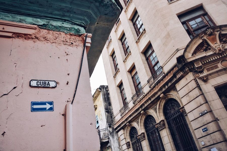 This way for Cuba. Architecture Building Exterior Built Structure Text La Habana Havana Cuba Textures And Surfaces Street Wall Sign Street Sign Streetphotography Corner To The Right This Way Old Buildings Vintage Building Cities Tourist Attraction  BYOPaper! Been There.