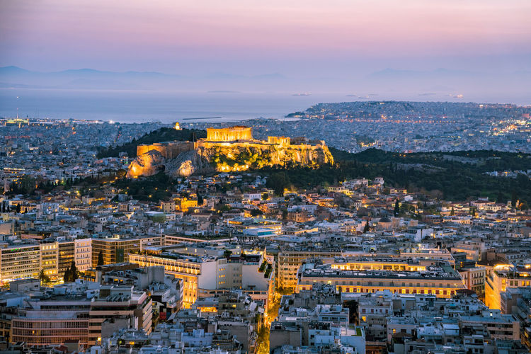 view on acropolis during the blue hour, Greece Blue Hour City Life Cityscape Europe Trip Historical Building Historical Monuments Sunset_collection Travel Photography Urban Geometry Acropolis Aerial View Athens Europe Greece High Angle View Illuminated No People Residential Building Sunset Travel Destinations Travelphotography Urban Skyline