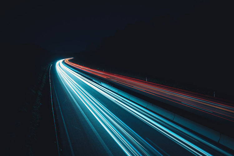 data light highways at night Long Exposure Data Highway Data Clickstream Stream Highway Road Information Anonymised Saved Data Illuminated Night Transportation Network Network Server Internet Dating Way Futuristic ArtWork No People Light Trail Motion Speed Neutral