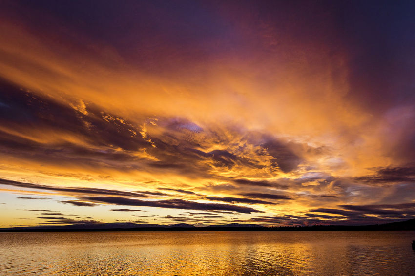 Tranquility Planet Earth Tranquil Scene Idyllic Landscape_photography Sweden Lake View Lake Sunset Water Dramatic Sky Orange Color Backgrounds Sky Landscape Cloud - Sky Horizon Over Water Romantic Sky