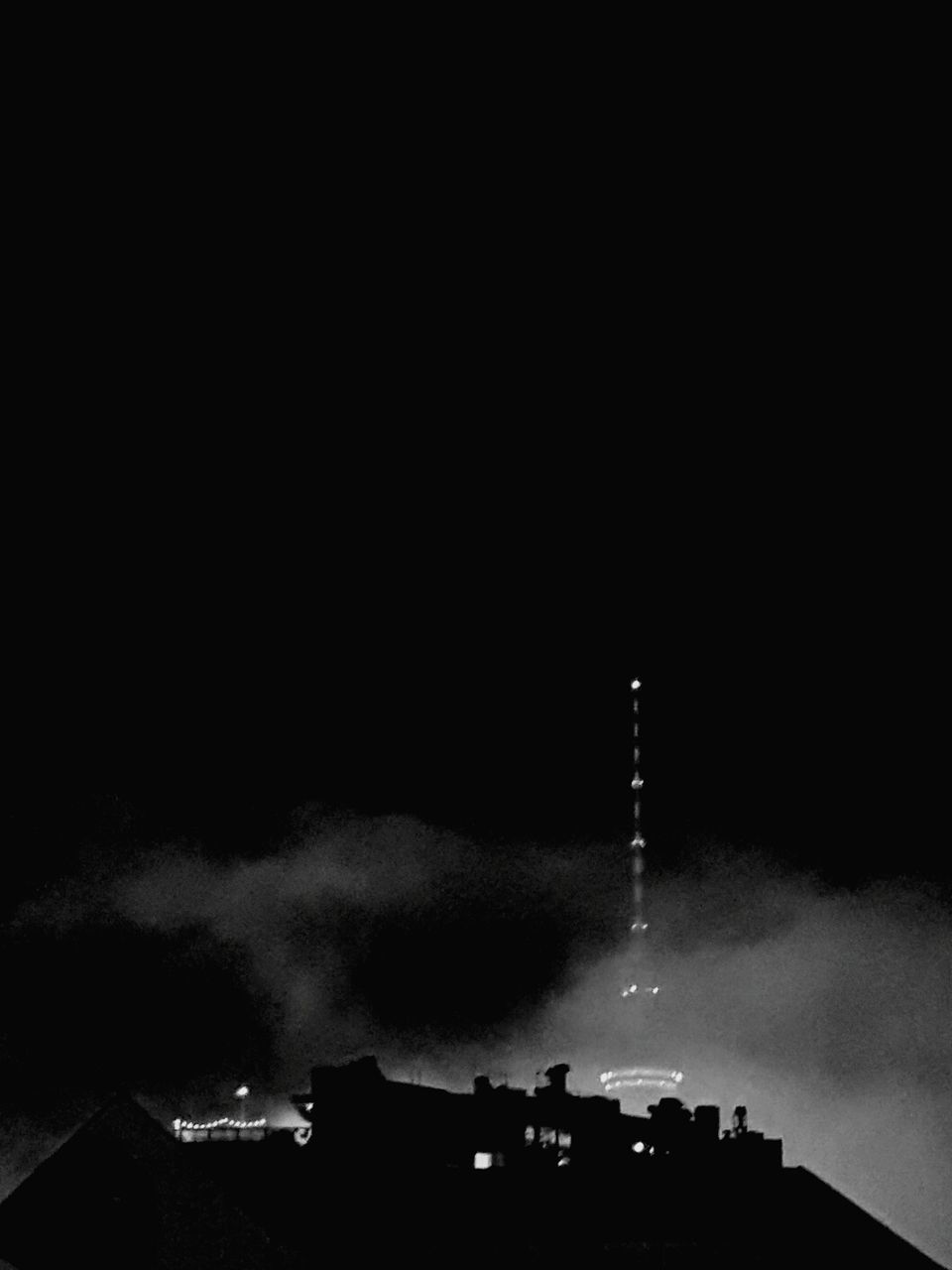 smoke - physical structure, architecture, night, built structure, smoke stack, emitting, chimney, industry, building exterior, sky, factory, low angle view, no people, outdoors, clear sky