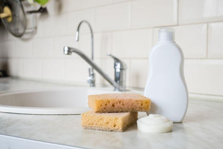 Close-up of sponge in bathroom