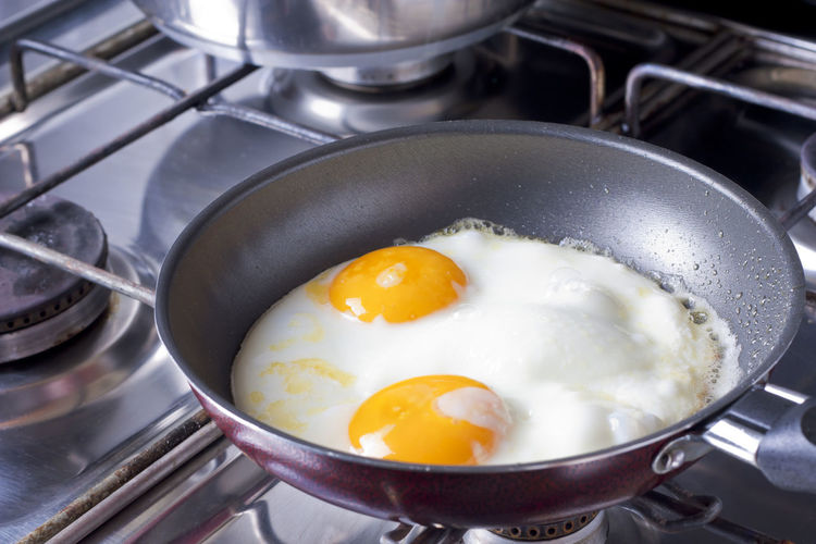 High angle view of breakfast in frying pan