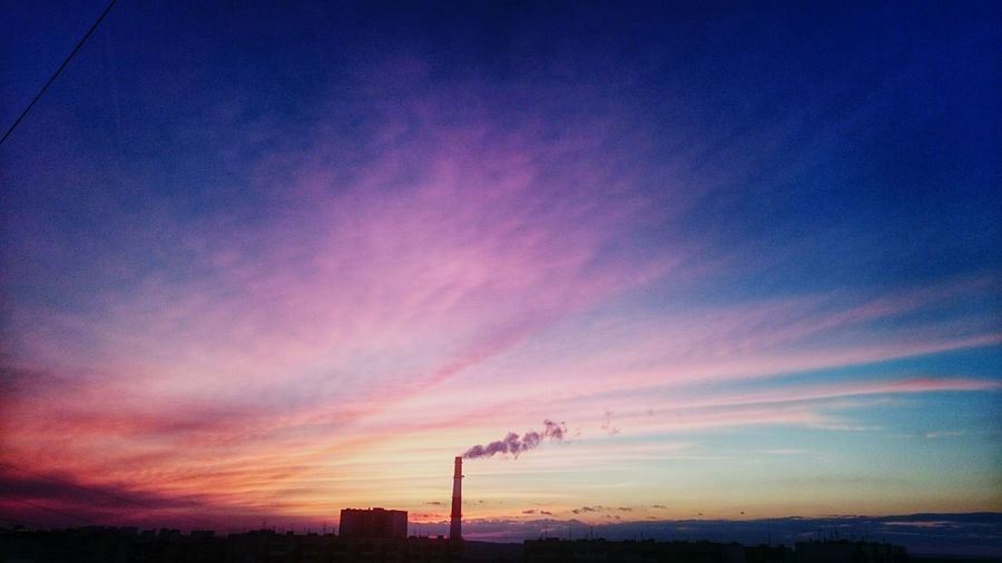 калуга чистое небо курящая труба зима Закат ?