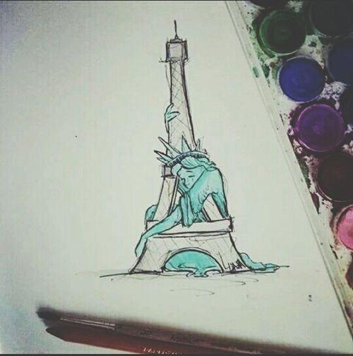 Showcase: November Prayforparis France Paris Dessin Drawing Attentat New York Statuteliberty Toureiffel 2015  November Love
