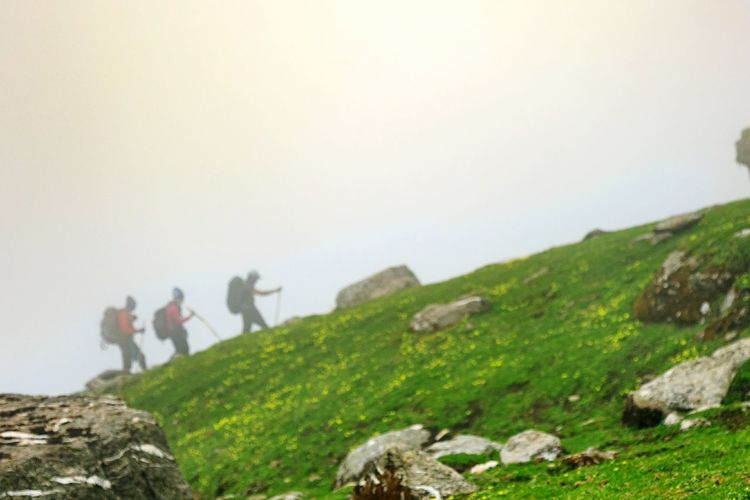 Trek through clouds. Adventure Hiking People Adult Adults Only Mountain Backpack Outdoors Rock - Object Teamwork Men Nature Young Adult Walking Only Men Togetherness Exploration Travel Grass Day Let's Go. Together.