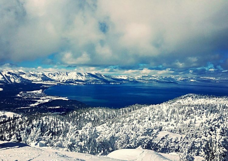 Heavenly ski resort view of Lake Tahoe Snow Winter Beauty In Nature Cold Temperature Nature Mountain Scenics Weather Frozen Tranquility Tranquil Scene Landscape Sky Outdoors Ice No People Snowcapped Mountain Cloud - Sky Day Polar Climate (null)Tahoe Blue Lake Tahoe Heavenly Heavenly Ski Resort First Eyeem Photo EyeEmNewHere