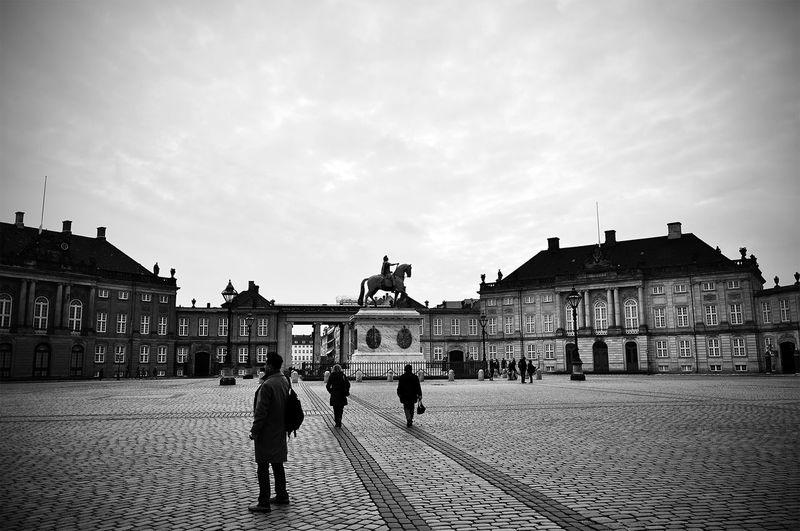 Copenhagen Town Square Famous Place Blackandwhite People Lonely