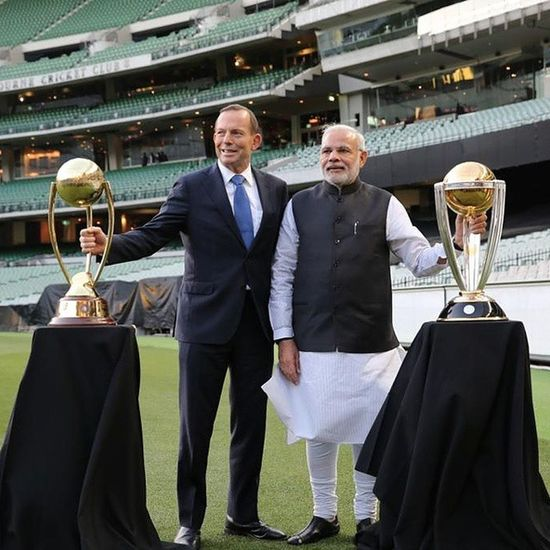 Proud on @narendramodi ji. What a moments on Mcg ground with NarendraModi & Tonyabbott wih CricketWorldCup trophy. ModiInAustralia Modi ModiInAus cwc15 cricket worldcup2015.