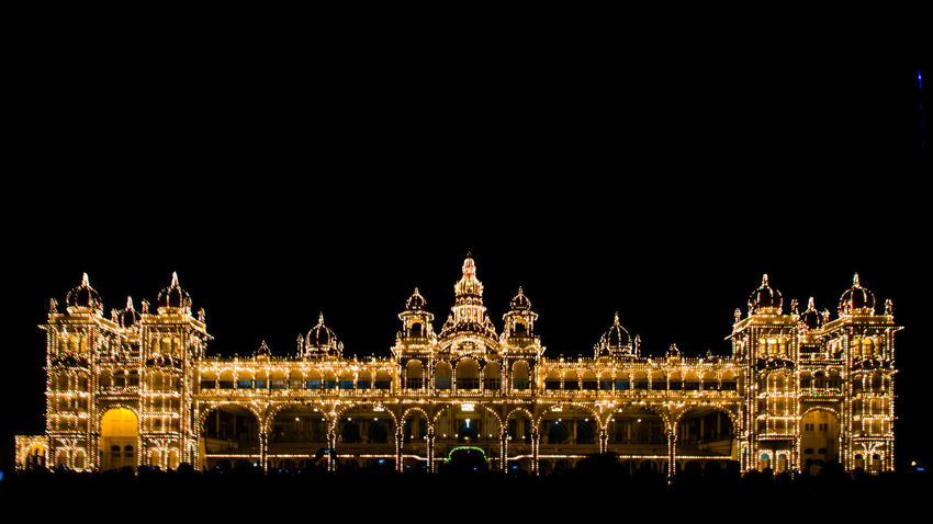 Illuminated Architecture Built Structure Night Building Exterior Copy Space Tourism City Travel Destinations Clear Sky Decoration Famous Place Outdoors Art For Sale Wallart Office Art Magazine Travelling India Vacations Mysore_Palace Architecture Holiday Beauty In Nature