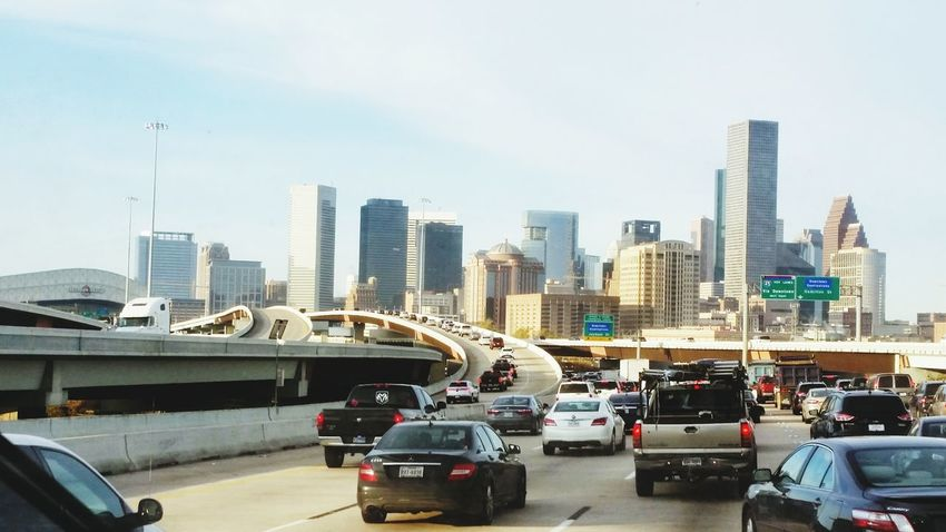 Downtown Houston Morning Traffic Houston Traffic Leaving Town Rv Cityscape Highways&Freeways City Buildings Highway