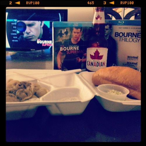 Russian food, Canadian beer and a guy on the run in Germany. I have my international flavors covered tonight. Pelmeni Russian Food The Bourne Supremacy The Bourne Trilogy Molson Canadian Beer Hashtaghashtag
