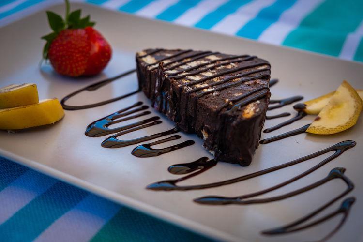 High angle view of chocolate cake on plate