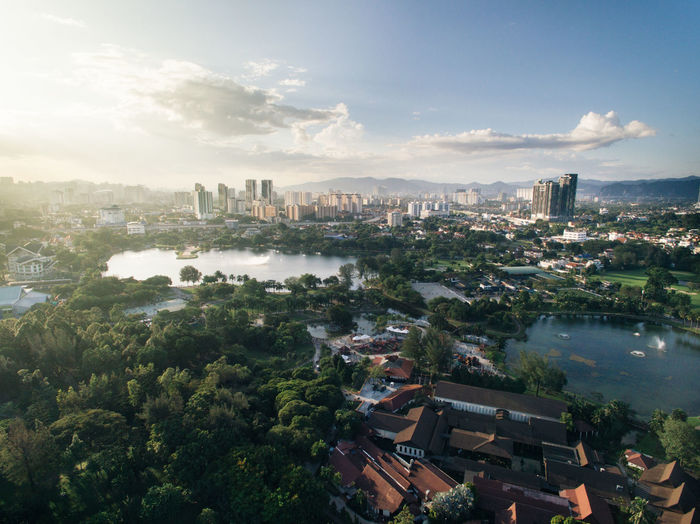 aerial view of titiwangsa lake in the evening ASIA Atmosphere Kuala Lumpur Serenity Tranquility Aerial Beauty In Nature City Cityscape Clouds Day Enviroment Evening Garden High Angle View Infrastructure Lake Landscape Malaysia Outdoors Park Sky Sun Titiwangsa Titiwangsa Lake