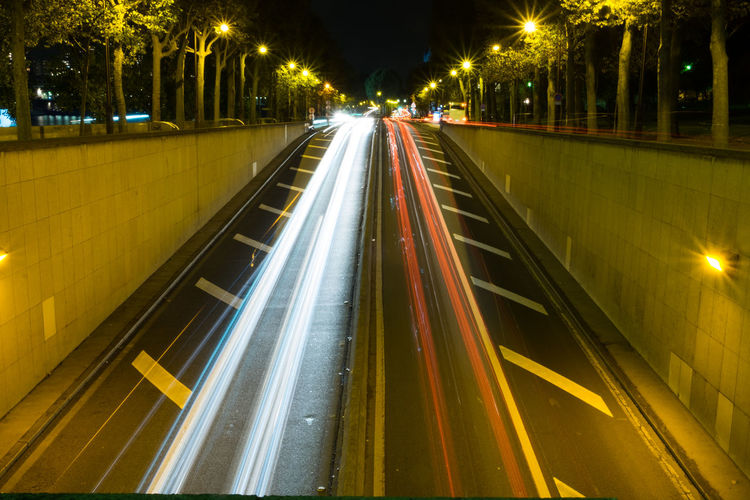 Cars Lights In And Out Nocturne ParisByNight Streetphotography Trafficlights Parallel Lines Tunnel