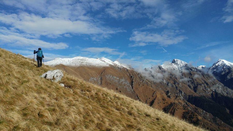 Men on mountain against sky