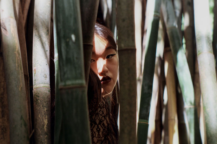 Portrait Of Young Woman Seen Through Bamboo Trees