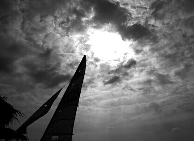 Clouds Beach Blackandwhite Sky Black And White Taking Photos Sailing Clouds And Sky Cloudporn Black & White  Blackandwhite Monochrome Skyporn Sailboat Sky_collection