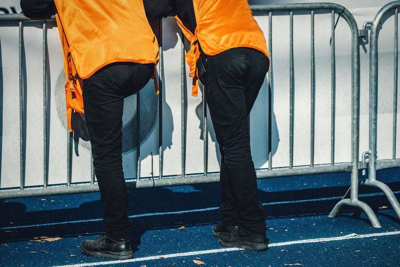 Orange is the new black Low Section Men Person Casual Clothing Outdoors Orange Orange Color Orange Is The New Black Unrecognizable People People People And Places Berlin Marathon 2016 Lifestyles Fashion Street Fashion Two Of A Kind Two Is Better Than One Mensfashion Menstyle Male Pants Human Leg Legs Minimalism Dressed Up