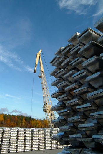 Russia Russia россия Abundance Aluminium Aluminium Ingots Aluminum Cloud - Sky Day Foundry In A Row Industry Ingot Metal Metal Industry No People Nonferrous Metallurgy Outdoors Recycling Center Shiny Silver Colored Sky Stack Warehouse