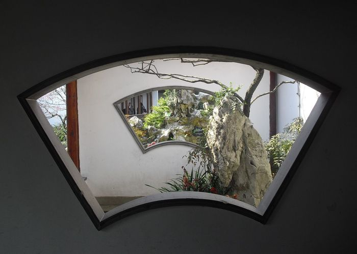 Architecture China Chinese Garden Day Hangzhou No People Plant Tree Window Window Through Window