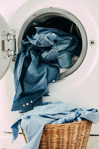 Denims in basket and washing machine