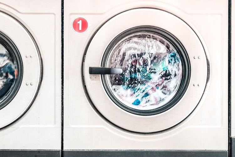 Full frame shot of washing machines in laundromat