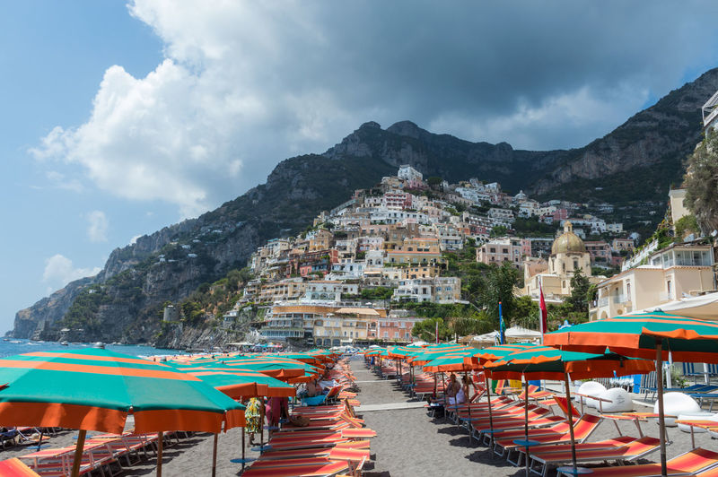 Amalfi Coast Beautiful Positano Italy Beach Chair Cloud - Sky Day Mountain Nature No People Outdoors Sky
