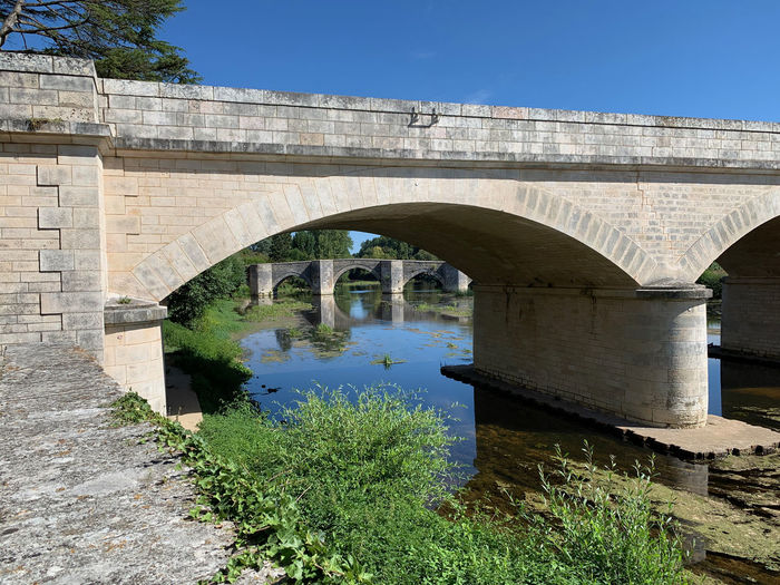 Arch bridge over river against clear blue sky