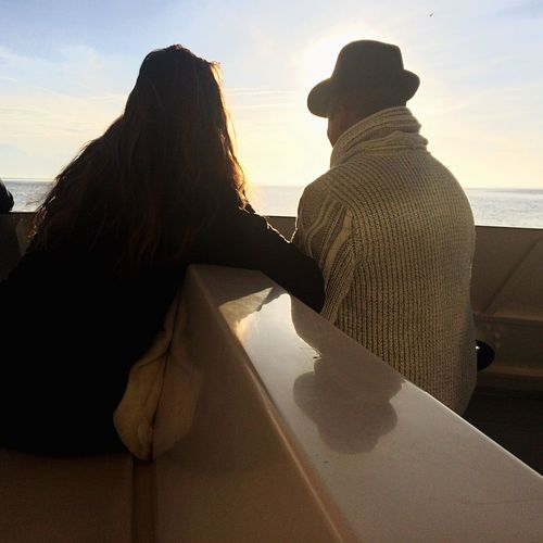Traveling Home For The Holidays Two People Sunset Sea Wife Outdoors Bonding Love Beauty Nature L_ssa
