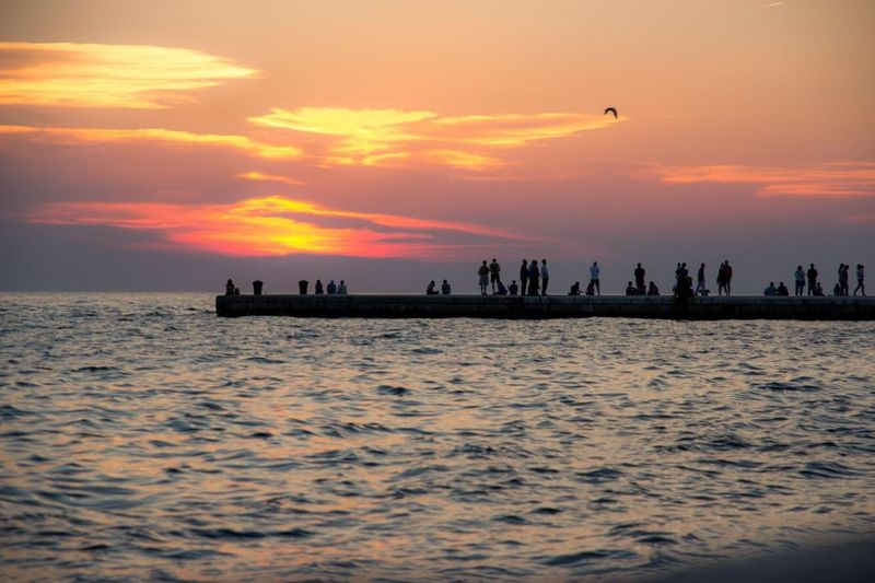 Sunset Zadar Zadar,Croatia Sunset People Silhouettes Waterfront