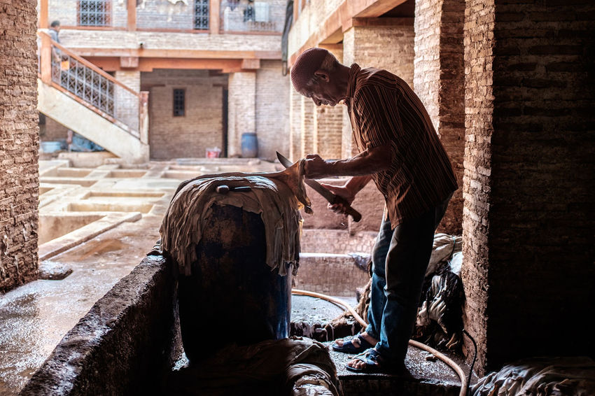 Morocco, Land of Contrast | Fujifilm X100T | www.kulturhybrid.com 35mm Authentic Moments Exploring EyeEmNewHere Fes Leather Life Moments Morocco Tradition Travel Travel Photography Traveling Worker Cultures Fujifilm Human Kulturhybrid People Tannery Tourism Travel Destinations X100t