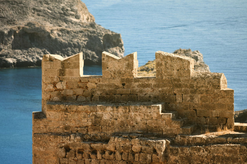 Acropolis of Lindos Ancient Ancient Civilization Archaeology Architecture Building Exterior Built Structure Castle Day Greece History Land Nature No People Old Old Ruin Outdoors Ruined Sea Solid The Past Travel Travel Destinations Water