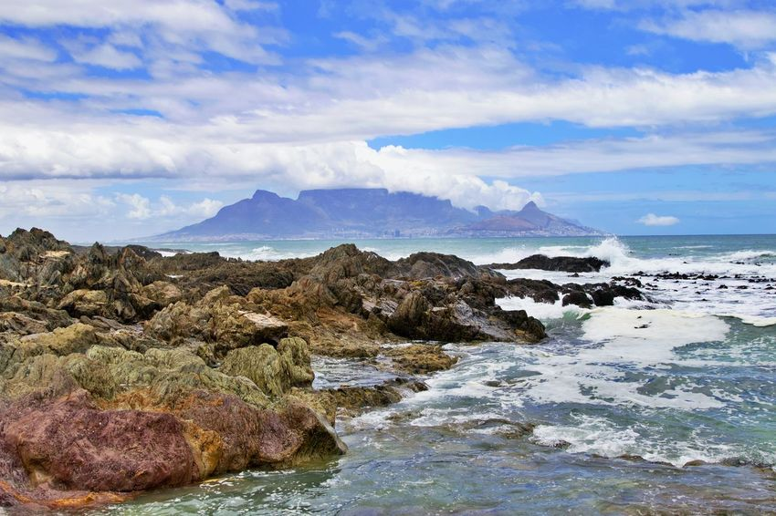 Water Sea Rock Beauty In Nature Sky Scenics - Nature Cloud - Sky Rock - Object Motion Tranquil Scene No People Tranquility Horizon Over Water Rocky Coastline Horizon Outdoors Nature Solid Cape Town, South Africa