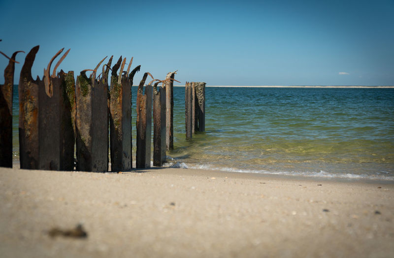 Sea Beach Land Sky Horizon Sand Horizon Over Water Water Nature Tranquility Clear Sky Scenics - Nature No People Tranquil Scene Day Beauty In Nature Blue Copy Space Outdoors Wooden Post