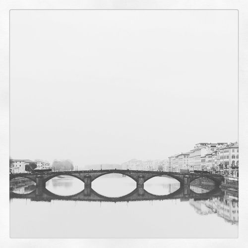 Florence Ponte Alla CarraiaFlorenceFogItalyFirenzeSlow TravelBridgeBridgesBlack And WhitetraveldramaticTuscanyTourism White Background No People Bridge - Man Made Structure Ponte Alla Carraia Firenze Bnwphotography