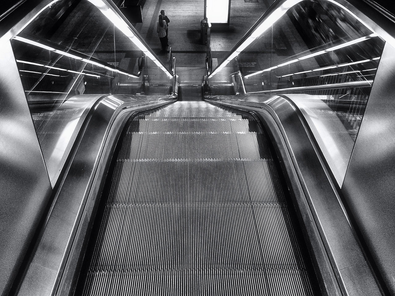 Close-up high angle view of escalator