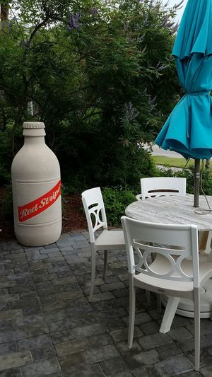 Red Stripe Beer Patio Outdoors Tables And Chairs Table Chair Tables Chairs Gathering Food And Drink Hilton Head Island, SC Hilton Head Hilton Head Island SC Beach Colignyplaza Coligny Marble Closed Umbrella Umbrella Umbrellas Rain Raindrops Blue Aqua