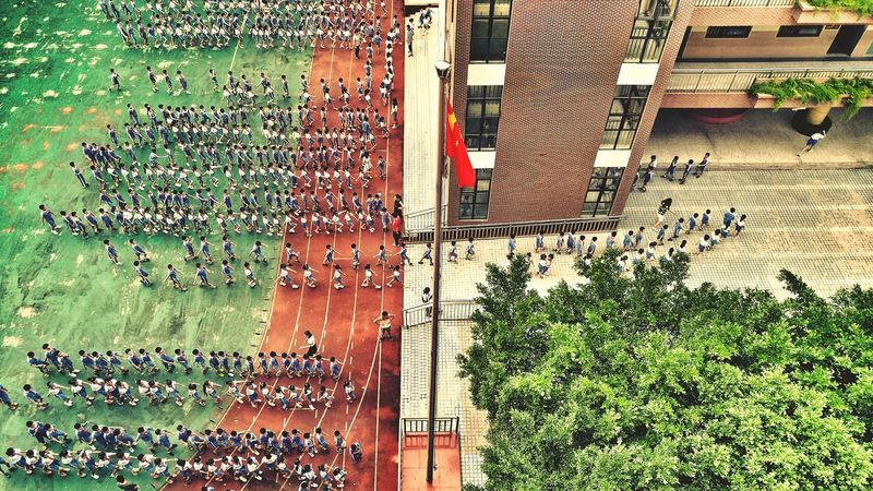 Tree Large Group Of People Architecture Built Structure Building Exterior City Growth Plant Crowd City Life Green Color Day Person Modern Chinese Flag School Students Aerial View