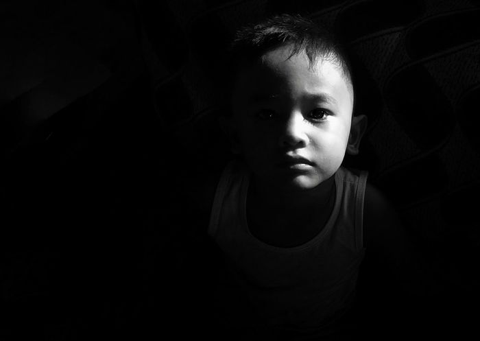 Child Black Background Portrait Childhood Looking At Camera Depression - Sadness Dark Close-up Sadness Loneliness Thinking Disappointment Child Abuse Crying
